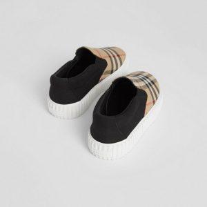 Sneaker senza lacci in cotone con motivo Vintage check