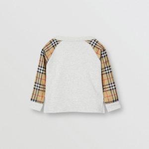 Felpa in cotone con logo e maniche con motivo Vintage check