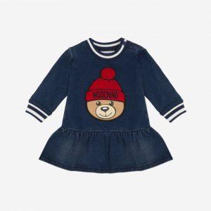 ABITO IN FELPA DENIM CON WINTER TEDDY BEAR