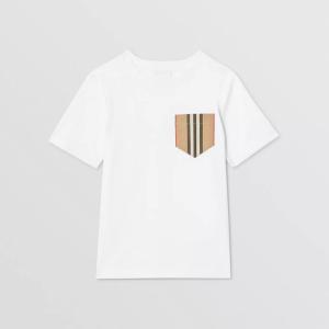 T-shirt in cotone con taschino a righe